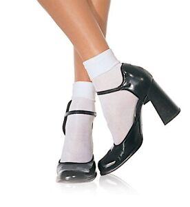 Leg Avenue Sexy White Nylon Cuff Anklet/Ankle Pop Socks One Size
