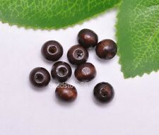 100pcs cofee charm loose bead round wood beads spacer 8mm