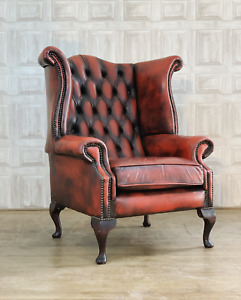 SUPERB Oxblood Red Leather Chesterfield Wingback Armchair - *£55 DELIVERY*
