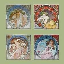 Set of 4 Ceramic tile magnet refrigerator Art nouveau Apfhonse Mucha  #002