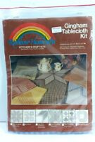 Gingham Tablecloth Kit 43x43 Vintage Rainbow Handcrafts Blue and White Checkered