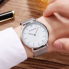 Mens Business Stainless Steel Black Watch Analog Quartz Big Dial Wrist Watches