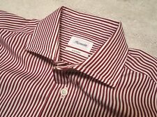 Faconnable Striped 100% Cotton Spread Collar Dress Shirt NWT 15 x 35/36 $235