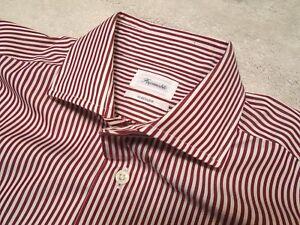 Faconnable Striped 100% Cotton Spread Collar Dress Shirt NWT 15 x 35/36 $235