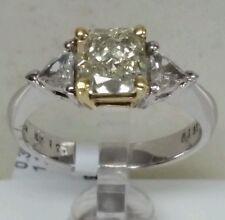 14k white gold 1.35ct Vs2 fancy yellow diamond 2 trillions 0.30ct H SI1.  ring