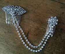 Bridal Double Draping Hair Comb Diamante Forehead Side Back Boho Vintage Gatsby