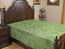 Green Mandala Elephant Cotton Bedding Indian Wall Tapestry Bed Sheet ~ Full