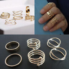 6 PCS Fashion Vintage Women's Metal Gold Plated Knuckle Finger Ring Set Jewelry