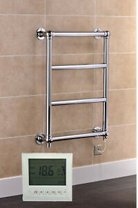Traditional Electric Ball Jointed Chrome Plated Brass Towel Rail With Timer