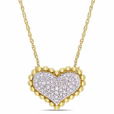 Amour 10KY Diamond Cluster Halo Heart Necklace