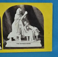 1860s Stereoview Photo Still Life Of Sculpture Statue The Mother's Prayer