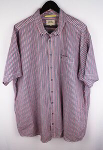 Camel Active Men Casual Shirt Short Sleeves Striped Red Blue Cotton size XXXL