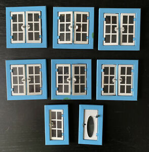 Superb Romside Tri-ang Vintage Blue Yellow Tin Dolls House Windows Replacement