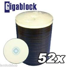 1000 pcs SONIK CD-R 52x White Inkjet Hub Printable Blank media disc