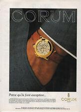 Publicité Advertising  1988  Montre CORUM SUISSE