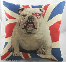 "18"" Union Jack Bulldog Winston Flag Woven Tapestry Cushion Evans Lichfield LB452"