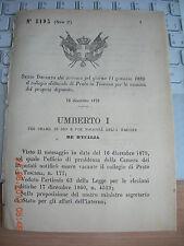 REGIO DECRETO 1879 CONVOCA COLLEGIO ELETTORALE DI PRATO TOSCANA X  ELEZ DEPUTAT