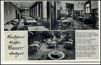 STUTTGART  ~1940 Mehrbildkarte Konditorei Kaffee BAUER Café i.d.Kronenstrasse 31