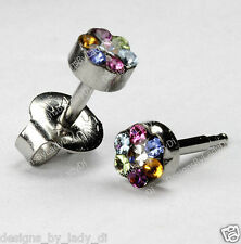 Ear Piercing Earrings MAXI 5mm Multi-Colored Crystal Daisy Silver Stud Stainless