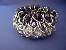 New Stretch Bracelet of Silver and Black & Clear Glass Beads with Silver Links