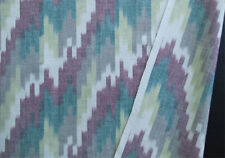 Genuine Artisan Ikat Fabric Hand-Dyed Hand-Woven India Cotton Green Red