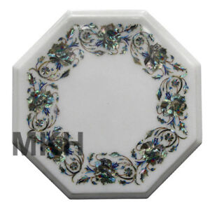 Marble Coffee Table Inlay Gem Stones Mid Century Vintage Carved Side Table Top