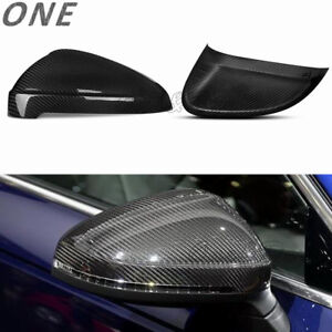 For 16+ Audi A4 B9 S4 17+ A5 S5 Dry Carbon Fiber Side Mirror Cover Rearview Caps