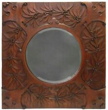 RARE ARTS & CRAFTS ANTIQUE LG HAND CARVED OAK WOODEN WALL MIRROR W/BEVELED GLASS