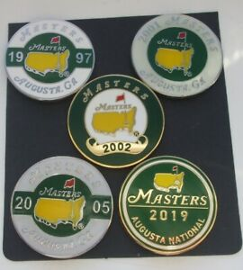 SET of 5 TIGER WOODS US Masters wins 97.01,02,05 & 2019 FREEPOST UK