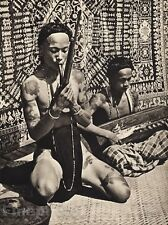 1940 Vintage BORNEO SEMI NUDE MALE Music Bamboo Flute Guitar Photo By K.F. WONG