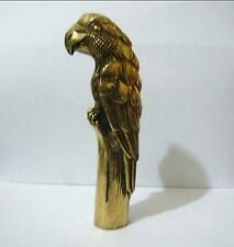 Chinese Old Handmade Bronze Carved parrot Collect Statue Cane Walking Stick Head