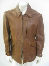 Vintage HERCULES Horsehide Leather Half Belt Motorcycle Jacket Size MED/LRG