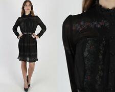 Vintage 70s Black Floral Dress Sheer Tiny Flowers Pleated Disco Secretary Mini