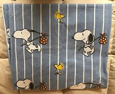 Snoopy Peanuts fitted twin sheet, denim blue/white, Hobo theme, Vintage, Nice