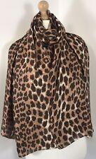 NEW Leopard Print Silk Scarf Pashmina Mocha Brown Oversized Silky & Softest Feel