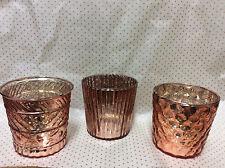 * Set aus 3 Teelichthalter Glas Aprikot Orange glaenzend sortiert Bauernsilber