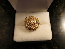 Vintage Retro 14k Solid Gold Floral Cluster Diamonds And Spinel Gemstone Ring