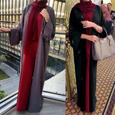 Dubai Arab Women Open Cardigan Abaya Kaftan Muslim Long Sleeve Maxi Dress Robe