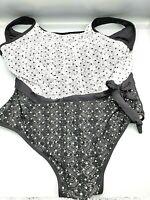 Anne Cole Plus Size Make A Sash High Neck Tankini Swim Top 20W Black White