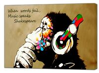BANKSY DJ  GORILLA  GOLD PAINT PRINT ON FRAMED CANVAS WALL ART   HOME DECORATION