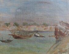 """JAMES GOVETT AUSTRALIAN OIL """"FISHING BOATS ITALY"""" 1970 A"""