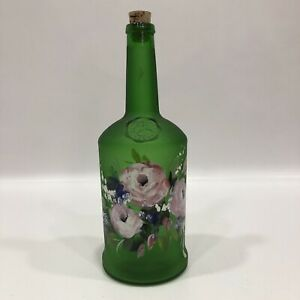 "4GCS Sandeman 1790 Green Glass Wine Bottle Hand Painted Floral  9.5"" Tall"