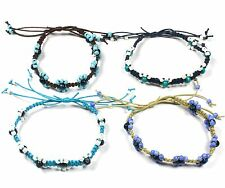 Handmade Flower Adjustable Blue Bead Surf Anklet with Waxed Cotton Cord