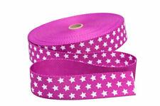 1 m Gurtband in rosa mit weißen Sternen  20 mm