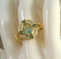 Vintage Jewellery Gold Ring Aquamarine Peridots Sapphires Antique Deco Jewelry