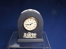 "Vintage Wedgwood Portland Blue Jasper Ware Cherubs 3 1/2"" High Mantle Clock Fine"