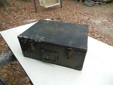 "Vintage Military Wood Chest Signal Corps Army Strongbox 18"" x 14"" x 7"""