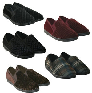 MENS SLIPPERS IN 3 COLOURS WITH TWIN SIDE GUSSETS IN SIZES 6-14