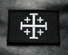 JERUSALEM CROSS INFIDEL CRUSADER blk/white HOOK MORALE PATCH