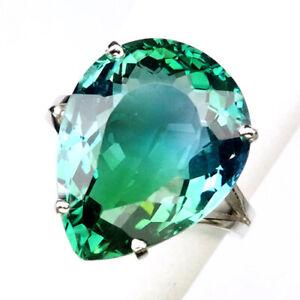 AMETRINE BI COLOR BLUE GREEN PEAR 14.10 CT. 925 STERLING SILVER RING SZ 7.5 GIFT